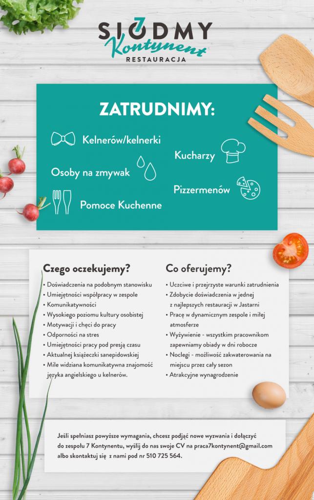 Szczegółowa oferta zatrudnienia nowych pracowników w Restauracji 7 kontynent - Praca Jastarnia